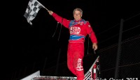 The Salina Highbanks Speedway saw the return of the Lucas Oil American Sprint Car Series presented by MAVTV American Real on Saturday, August 17 with Jeff Swindell edging out Jason Johnson in slower traffic for his fourth Protect the Harvest A-Feature win of 2013.