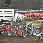 James McFadden, Tim Shaffer, and Robby Wolfgang tangled up in Friday's big crash at the Knoxville Raceway. - Mike Cambell Photo