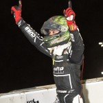 Kyle Larson celebrates after winning Friday night's feature at Knoxville Raceway. - Mike Campbell Photo