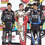 Third place Daryn Pittman, winner Brooke Tatnell, and second place finisher Tim Kaeding after the Speed Sport World Challenge on Friday night at Knoxville Raceway. - Mike Campbell Photo