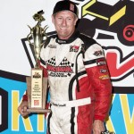 Brook Tatnell in victory lane after winning the Speed Sport World Challenge on Friday at Knoxville Raceway. - Mike Campbell Photo