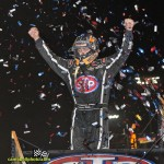 Donny Schatz exits his car after winning the 2013 edition of the FVP Knoxville Nationals. - Mike Campbell Photo