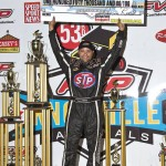 Donny Schatz in victory lane after winning the 2013 FVP Knoxville Nationals. - Mike Campbell Photo