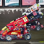 Four wide racing with Randy Hannagan (#22H), Butch Schroeder (#20B), Nick Roberts (#22),and Tim Allison (#11).  - Mike Campbell Photo