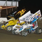 Tim Shaffer (#6) racing with Sheldon Haudenschild (#33M) Friday at Limaland. - Mike Campbell Photo