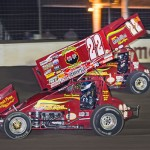Randy Hannagan (#22H) racing with teammate Dennis Yoakam (#22D) Friday at Limaland Motorsports Park. - Mike Campbell Photo
