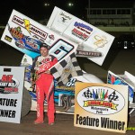 Tim Shaffer in victory lane after winning the feature Friday night at Limaland Motorsports Park. - Mike Campbell Photo