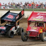 Dennis Yoakam racing with Jerrod Delong. - Brent Pierce Photo