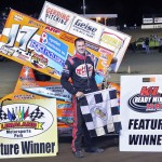 Jared Horstman in victory lane Friday at Limaland Motorsports Park. - Brent Pierce Photo