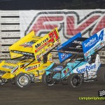 Joey Saldana (#71M) racing close with Cody Darrah (#4) at Knoxville. - Mike Campbell Photo
