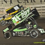 Kevin Swindell (#71) racing with Jerrod Schneiderman (#88) Thursday at Knoxville Raceway. - Mike Campbell Photo