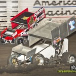 John Agan (#4) racing with Robby Wolfgang (#1s) Thursday at Knoxville Raceway. - Mike Campbell Photo