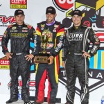 (l to r) Second place Kerry Madsen, winner Brian Brown, and third place Kevin Swindell in victory lane on Thursday at Knoxville Raceway. - Mike Campbell Photo