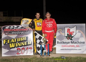 Dallas Hewitt in victory lane with Jack Hewitt after winning the Jack Hewitt Classic at Waynesfield Raceway Park. Mike Campbell Photo www.campbellphoto.com