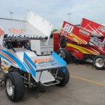 Cars lined up in the pit area on Thursday night. - T.J. Buffenbarger Photo