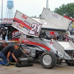 Bryan Clauson's team prepares for Thursday night's program at Knoxville Raceway. - T.J. Buffenbarger Photo