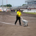 Chalking the pit line at Knoxville Raceway. - T.J. Buffenbarger Photo