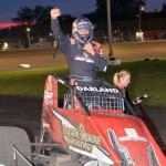 Dave Darland moments after winning the 25 lap sprint car feature event Friday night at the Gas City I-69 Speedway. - Bill Miller Photo