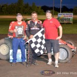 Dave Darland and crew in Victory Lane on Friday night August 9, 2013. - Bill Miller Photo