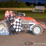 Dave Darland in Victory Lane after winning the 25 lap non-wing sprint car feature event at the Gas City I-69 Speedway on Friday night August 9, 2013. - Bill Miller Photo