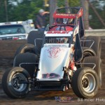 #12 Chris Gurley and #29J Logan Jarrett battle for position during heat race action. - Bill Miller Photo