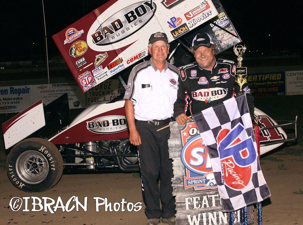 steve kinser slides to his second victory of the season