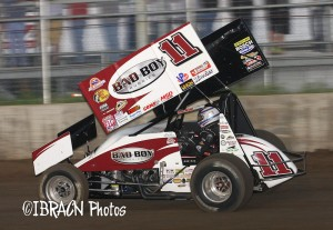Steve Kinser wins the WoO feature at Junction Motor Speedway in McCool Junction, NE on Tuesday night.  - Brad Brown / IBRACN.com Photo