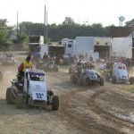 Midgets ready to push off at Angell Park Speedway. - Serena Dalhamer Photo