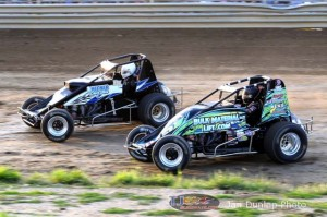 Matt Westfall (#54) racing with DustinIngle (#2) at Waynesfield Raceway Park. - Jan Dunlap Photo
