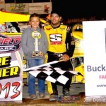 Dallas Hewitt in victory lane at Waynesfield Raceway Park. - Jan Dunlap Photo