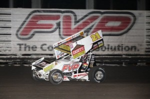 Brian Brown on his way to victory on Thursday night at Knoxville Raceway. - Serena Dalhamer Photo