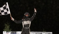 Bryan Clauson won the fifth round of the POWRi  Midget Car World Championship Saturday at Archerfield Speedway.
