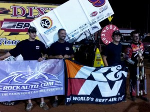 Derek Hagar made his 9th visit of the 2013 season to the www.rockauto.com USCS victory lane at Dixie Speedway on Saturday night. (USCS photo)