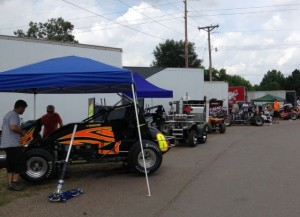 Teams working on their cars getting ready to compete Friday night at Knoxville Raceway. - T.J. Buffenbarger Photo
