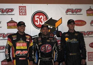 Second place Brian Brown, winner Donny Schatz, and third place Justin Henderson. - T.J. Buffenbarger Photo