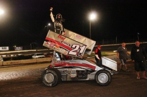 Bryan Clauson up on the wing after winning the MOWA feature at Jacksonville Speedway. - MOWA Photo