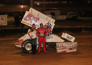 Christopher Bell in victory lane at Spoon River Speedway. - MOWA Photo