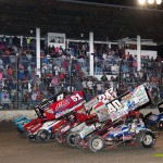 Parade lap for the World of Outlaws STP Sprint Car Series Saturday night at Fremont Speedway. - Mike Campbell Photo