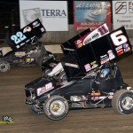 Cole Duncan (#22), Steve Kinser (#11), and David Gravel (#6) racing at Fremont Speedway. - MIke Campbell Photo