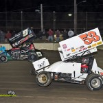 Christopher Bell (#53) racing with Daryn Pittman (#9) Saturday at Fremont Speedway. - Mike Campbell Photo