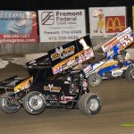 Sammy Swindell (#1) and D.J. Foos (#53x) racing at Fremont Speedway on Saturday. - Mike Campbell Photo
