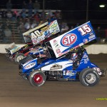 Caleb Griffith (#40) racing with Donny Schatz (#15) Saturday at Fremont Speedway. - Mike Campbell Photo