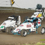 Luke Hall, Mike MIller, and Mike Dunlap racing at Waynesfield Raceway Park. - Mike Campbell Photo
