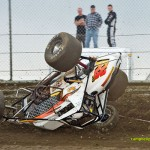 Thomas McCance upside down at Waynesfield Raceway Park on Sunday. - Mike Campbell Photo