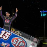 Donny Schatz celebrates his victory on Saturday at Fremont Speedway. - Mike Campbell Photo