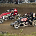 Dave Darland (#41) and Jac Haudenschild (#22) racing at Waynesfield on Sunday. - Mike Campbell Photo