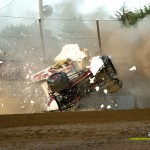 Kerry Madsen slams into the foam blocks at Fremont Speedway during time trials. - Mike Campbell Photo