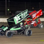 Danny Mumaw (#70) and Kevin Swindell (#71) racing Saturday at Fremont Speedway. - Mike Campbell Photo