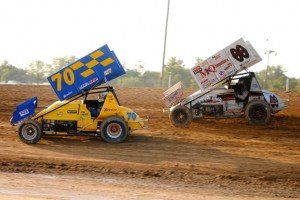 Jim Lingar and Ryan Grubaugh at Crystal Motor Speedway on Saturday. - T.J. Buffenbarger Photo