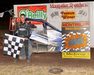 Parker Price-Miller in Victory Lane after winning the 20 lap midget feature event at the Montpelier Motor Speedway on Saturday night September 7, 2013. - Bill Miller Photo